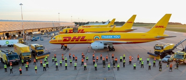 The labeled Boeing 757F is spreading a 'Thank You' message throughout Europe and beyond – courtesy DHL Express