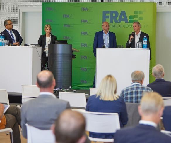 Panelists (left to right): Ashwin Bhat, LH Cargo  /  Susanne Klingler-Werner, UPS  /  Glyn Hughes, TIACA  /  Thomas Mack, DHL  -  courtesy: FACC