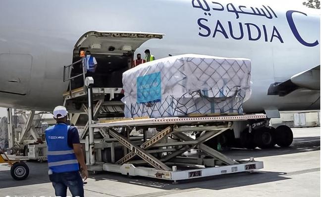 Helping to deliver coronavirus vaccines around the world. Image: Saudia Cargo