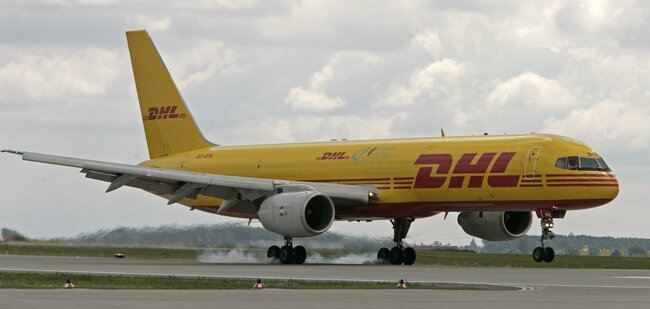 The B757F is the integrator's workhorse operated mainly on intra-European routes  -  courtesy DHL Express