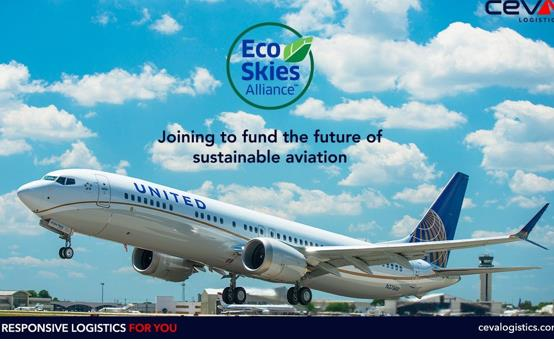 CEVA Logistics joins United's Eco-Skies Alliance aimed at burning SAF instead of fossil fuel to lower CO2 emissions in aviation  -  courtesy of CEVA