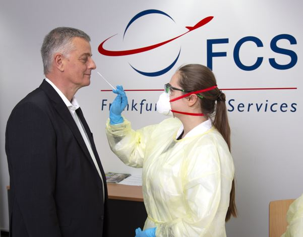 Testing, testing, 1-2-3... Claus Wagner, FCS MD being tested. Image: FCS Frankfurt Cargo Services.