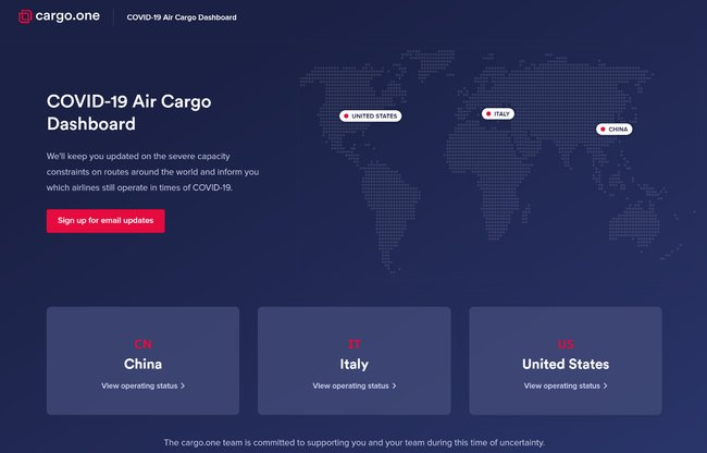 cargo.one's COVID-19 AIR CARGO DASHBOARD. Image courtesy of cargo.one