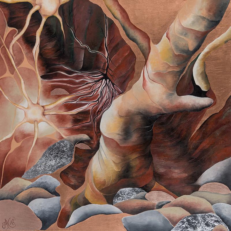 Synapse 2, Mischtechnik auf Leinwand, 100 x 100 cm, Serie Synapsen, 2018
