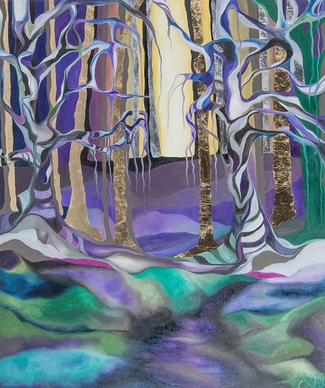 Aus der Trauer wächst das Glück, Öl auf Leinwand, 100 x 120 cm, Serie Wandlung, 2018