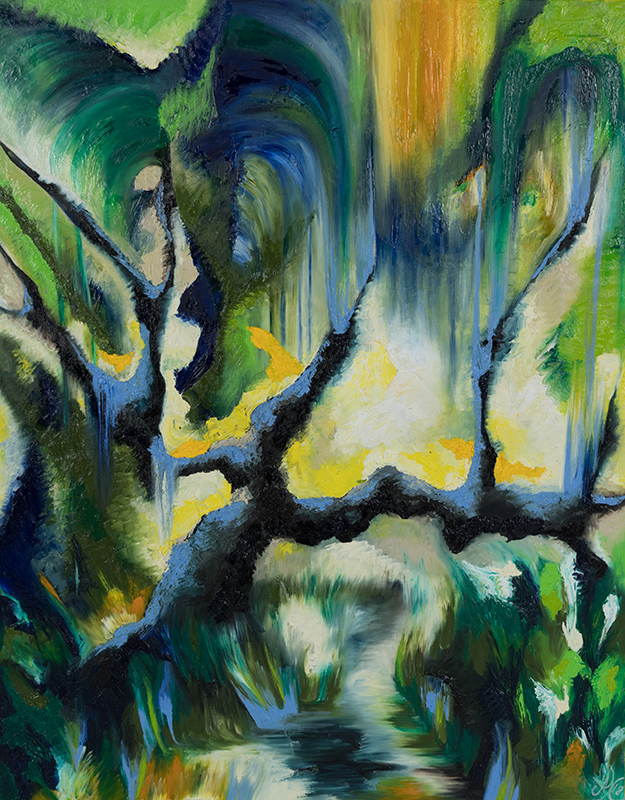 Tiefenwald 3, 80 x 100 cm, Öl auf Leinwand, Serie Tiefenwälder 2018
