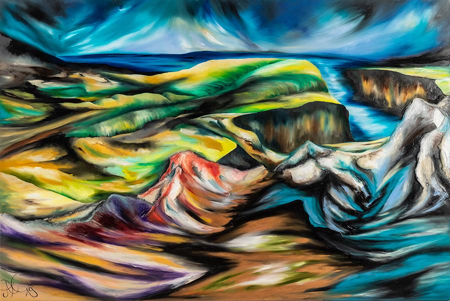 GeDanken Gänge, Öl auf Leinwand, 100 x 150 cm, Serie GeDanken Felder, 2019