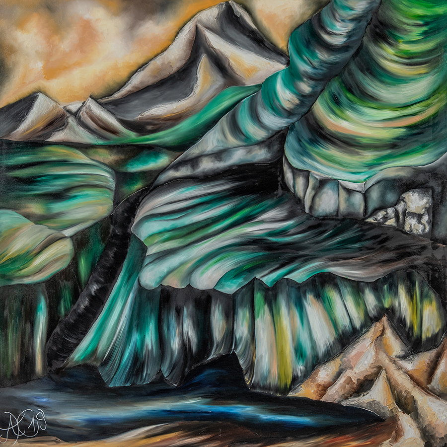 GeDanken Berg, 100 x 100 cm, Öl auf Leinwand, 2019, Serie GeDanken Felder