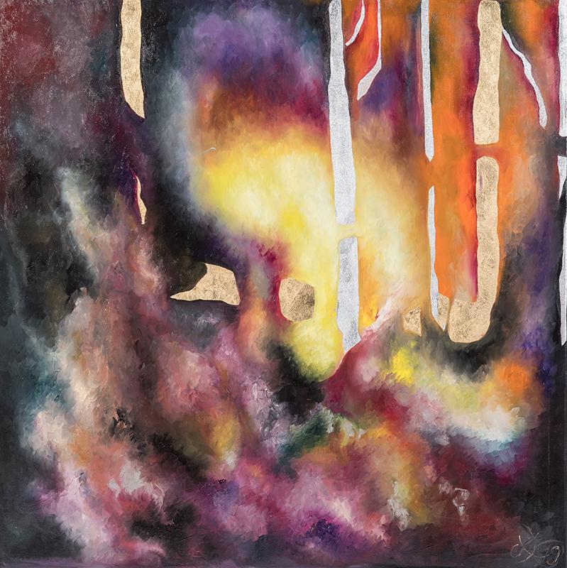 """Weltenlicht """"Geheimnis"""", 100 x 100 cm, Öl auf Leinwand, Serie Weltenlichter 2019"""