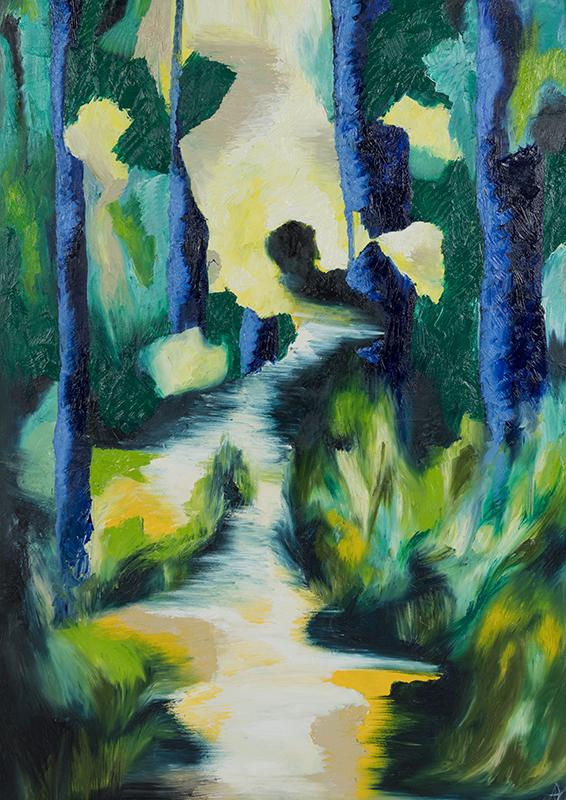 Tiefenwald 2, 70 x 100 cm, Öl auf Leinwand, Serie Tiefenwälder, 2018