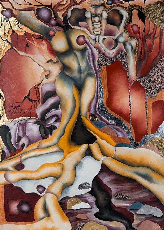 Synapse 6, Mischtechnik auf Leinwand, 100 x 140 cm, Serie Synapsen, 2018