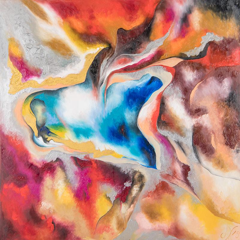 """Weltenlicht """"Kreuz"""", 100 x 100 cm, Öl auf Leinwand, Serie Weltenlichter, 2019"""