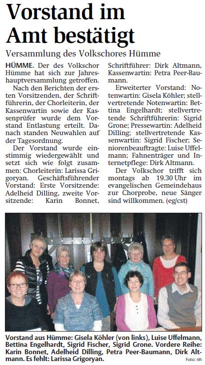 Jahreshauptversammlung am 9. Januar 2015 (Quelle: hna.de)