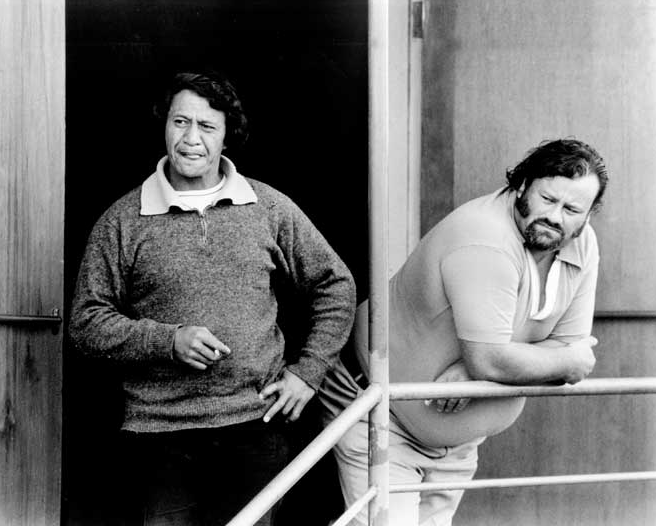 Tony Taurima and Colin Manson, union officials at the Ocean Beach freezing works in Southland, in 1984. There was a large number of Māori workers at the plant, as management had filled shortages with Māori staff from Northland and the East Coast (Te Ara).
