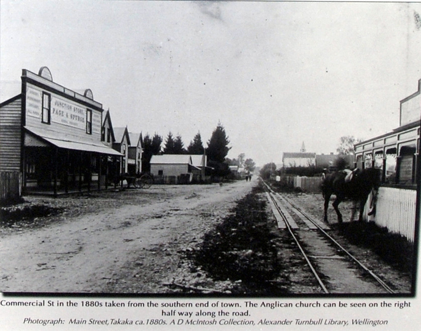 Takaka in the 1880s with rails for the East Takaka to Waitapu Tramway 1882-1905 (Takaka signage).