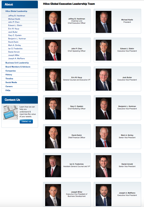 The Hilco Global Executive Leadership Team from the Hilco Global website (click pic for link).