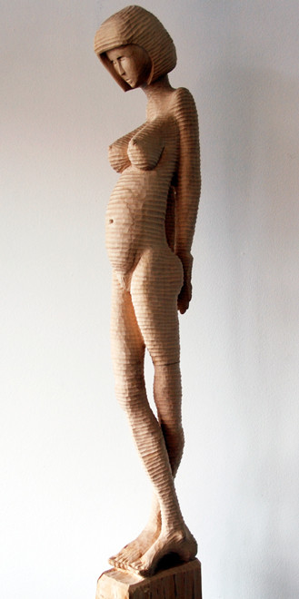 Standing Woman I  2009 (Lime) (86x7x12) Fergus Murray