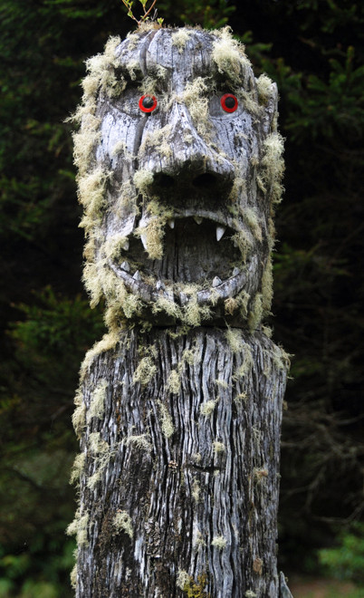 The other of the pair of splendidly lichen encrusted carvings on Back Road, Oban.