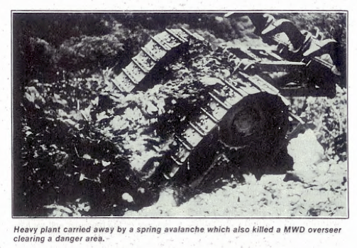 Avalanche fatality and damage on the Milford Road (From New Zealand Engineering February 1, 1986 p.20).