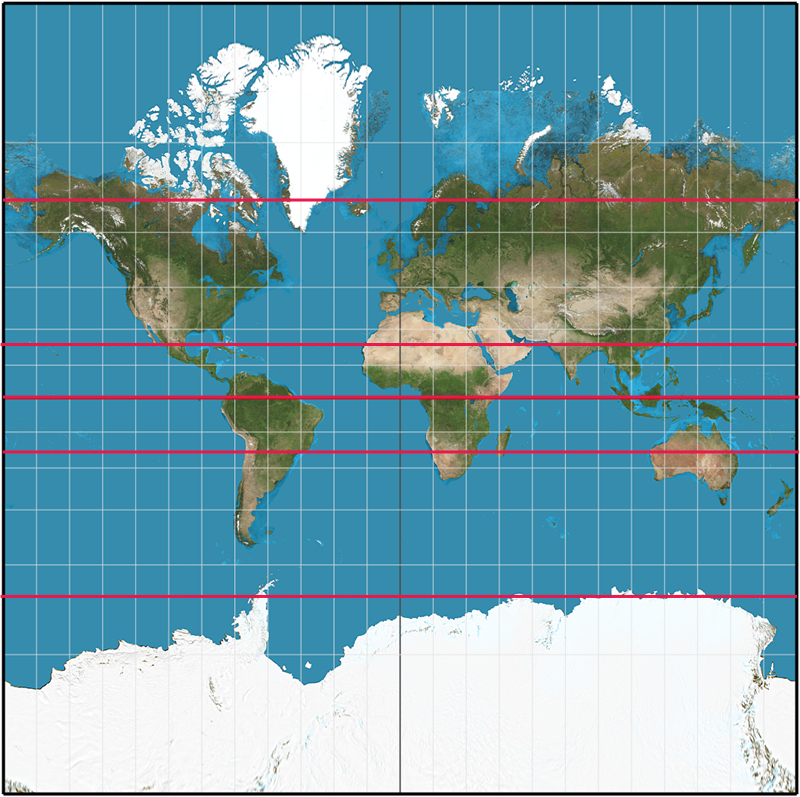 So little land beyond 35 degrees south: normal Mercator projection of the globe with equator, tropics and Arctic and Antarctic circles in red (WikiCommons)