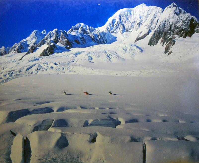 The extensive neve at 2,700m  of the Fox Glacier beneath Mt Tasman.
