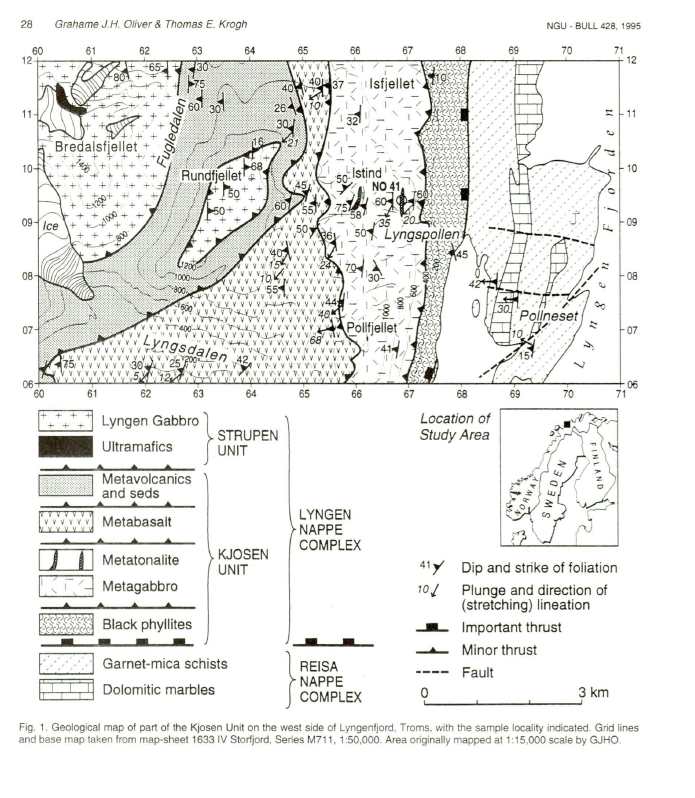 Detailed mapping of the Kjosen Unit of the Lyngen Nappe Complex by Oliver and Krogh, 1995.