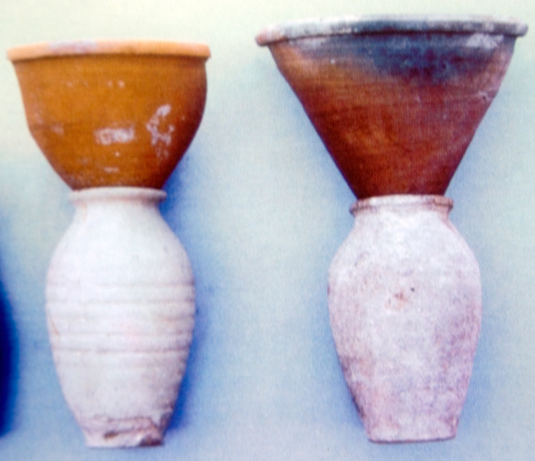 Funnel-shaped clay pot for sugar-loaf and collecting jar for molasses, Kouklia (c) Bank of Cyprus Cultural Foundation