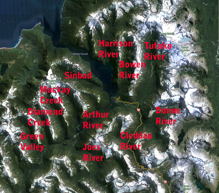 The inter-connected glacial valley system of Milford Sound (Google Earth with labels added).
