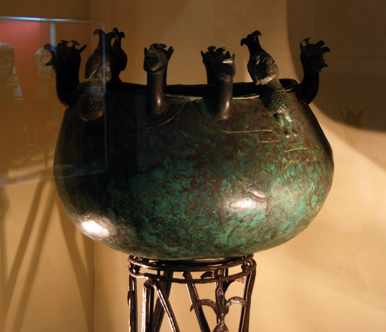 Exquisite Bronze Cauldron with eight griffons, c. 700BC, Salamis, Cyprus Museum.