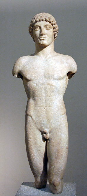 Anaphe kouros (rear view), BC 510-20, marble British Museum