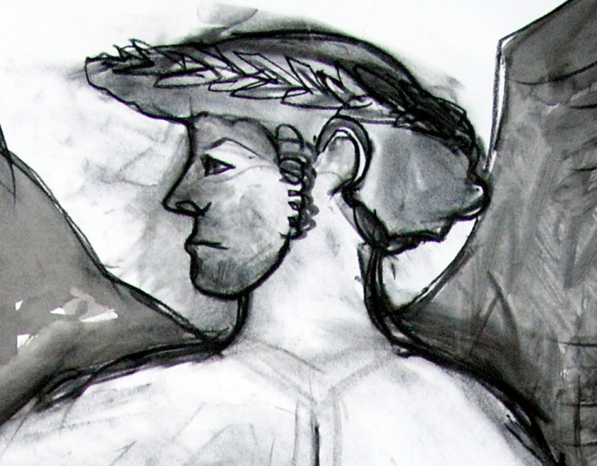 Greek Vase Guy 2009 (Charcoal Ink) (84x59) Detail