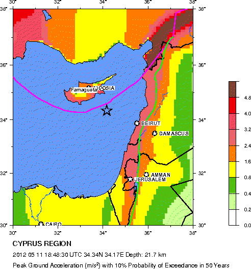Seismic Risk Map showing Cyprus (C) US Geological Survey
