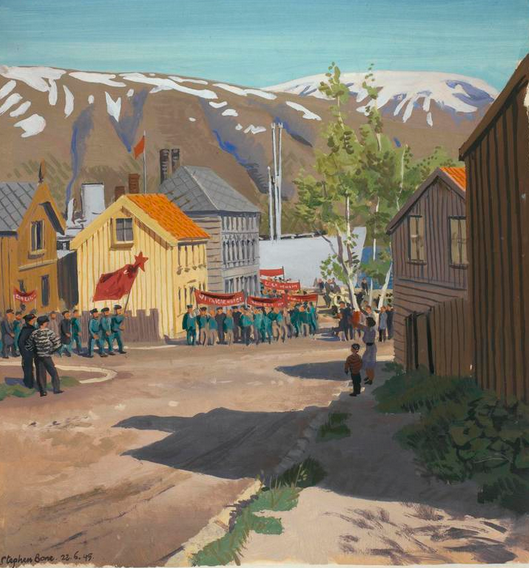 "Those that survived. 'Tromsö : 22nd June 1945. Russian ex-prisoners marching to the Murmansk ship"", Stephen Bone, British War Artist, 1945 © IWM (http://www.iwm.org.uk/collections/item/object/3265)."