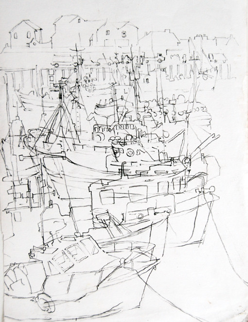 Newlyn Harbour 7 2005 (Pencil) (30x20) Fergus Murray Drawing