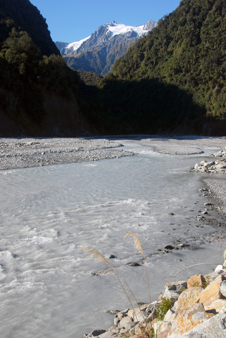 The Waiho River which drains the Franz Josef Glacier and the mouth to the Callery Gorge, a tributary that presents a dam-burst flood hazard with a 2% annual probability.