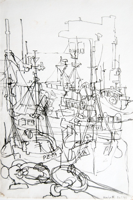 Newlyn Harbour 8 2005 (Pencil) (30x20) Fergus Murray Drawing