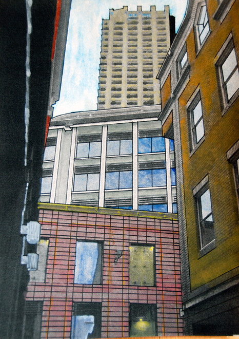 City windows and Lauderdale Tower, Barbican from  Middle Street 2006 (Watercolour and digital print) (28x20) FErgus Murray