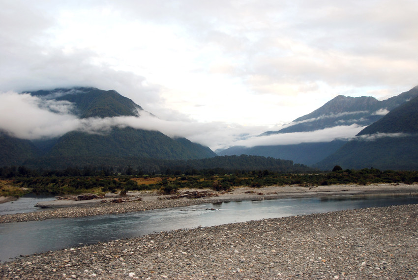 Crossing the Whakapohai River on the road between Haast and Fox Glacier on the West Coast of New Zealand.