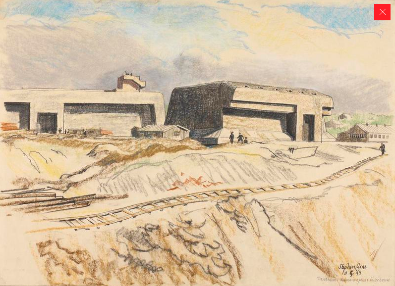 Trondheim: submarine pens, Stephen Bone, British War Artist, 1945 © IWM (http://www.iwm.org.uk/collections/item/object/3225).