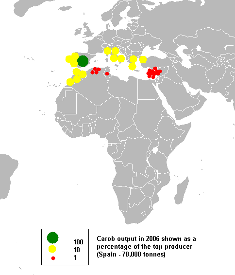 Mediterranean carob production where Spain is the biggest producer followed by Italy, Morocco, Portugal and Greece (c) Anwar saadat at en.wikipedia.