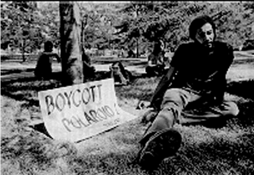 Photograph from the early 1970s of Ken Williams of the Polaroid Revolutionary Workers Movement that exposed Polaroid product links with the Apartheid regime in South Africa. He was fired by Polaroid in 1971 (click for African Archivist link).