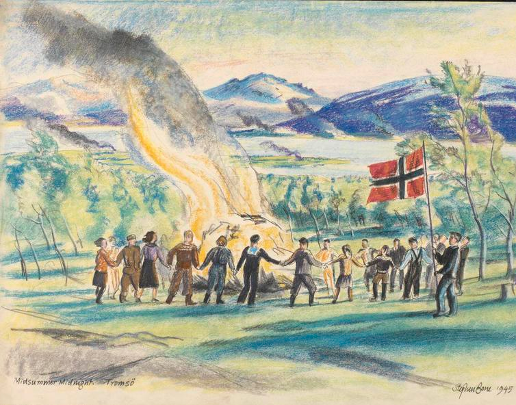 Midsumer Midnight, Tromso, Stephen Bone, British War Artist, 1945 © IWM (http://www.iwm.org.uk/collections/item/object/3271).