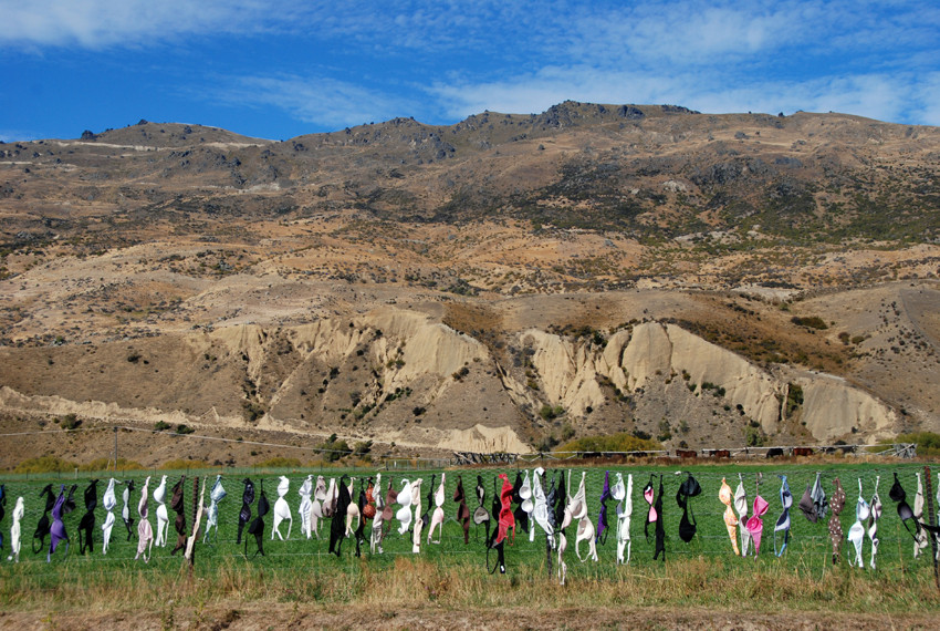 The celebrated 'bra fence' in the Cardrona Valley of Central Otago, New Zealand.