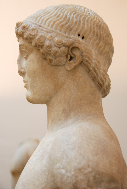 Head, Anaphe kouros (side view), BC 510-20, marble British Museum