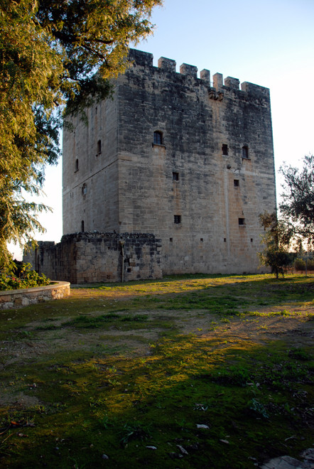Golden light on the 15th century keep of the castle on the Knights Hospitaller at Kolossi, January 2013.