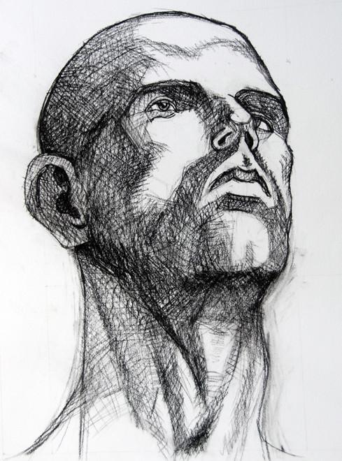 Head: Anatomy Study II (chalk)