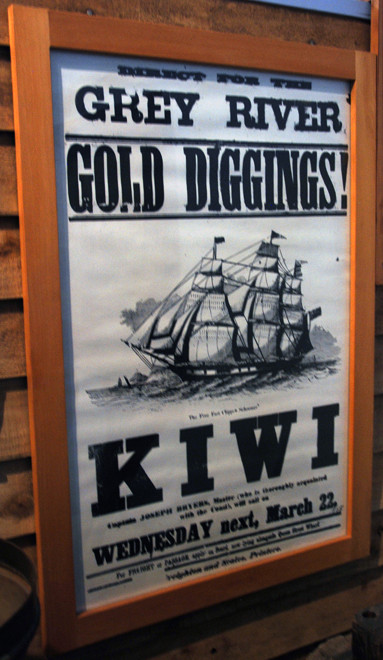 Poster for next sailing of the schooner Kiwi from Wellington to the Grey River west coast goal fields in the 1860s (Hokitika Museum)