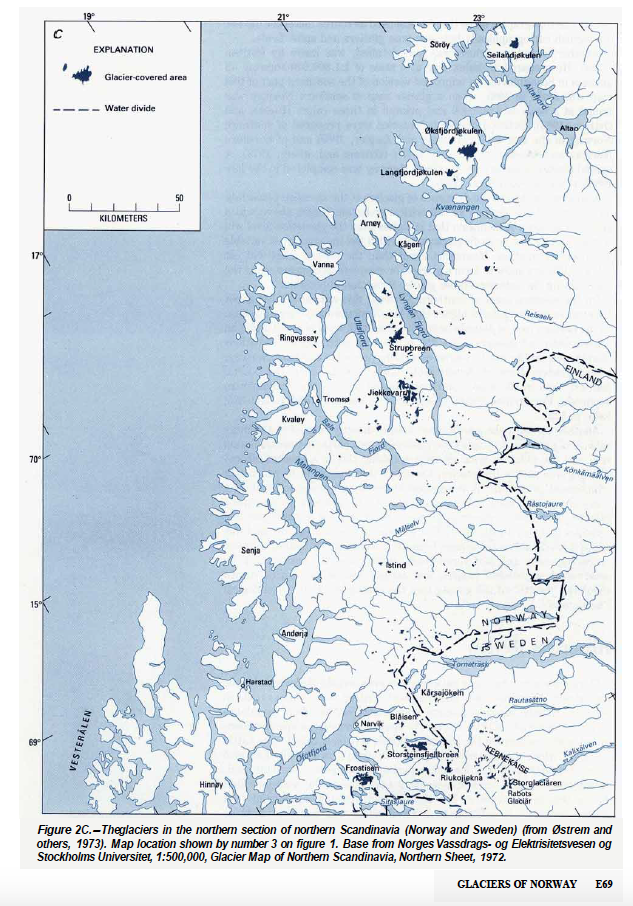 Other Materials Maps War Artist Paintings Photographs - Norway glacier map