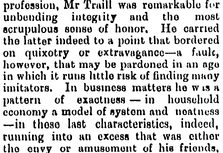 Extract from the obituary of Charles Traill (1826-1891) of Ulva Island in the Southland Times of 8 December 1891 (click for link to full obituary).