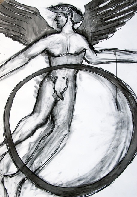 Greek Vase Guy 2009 (Charcoal Ink) (84x59) Fergus Murray